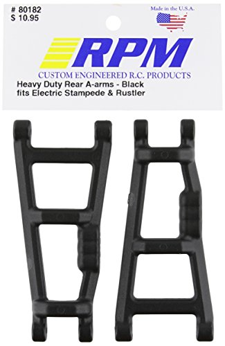 RPM 80182 Rear A-Arms Black E-Monster Jam, Rustler, Stampede Black