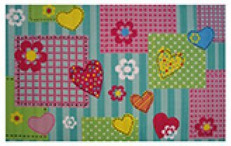 LA RUG FT-157 Fun Rugs Fun Time Hearts and Flowers Area Rug, 3 by 5-Feet, Multi-Color