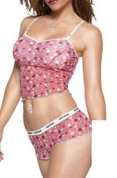 Dot Mesh Cami W/Shorts Pink Large