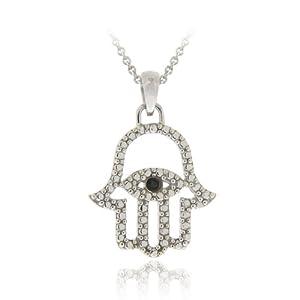 Sterling Silver Black Diamond Accent Hamsa-Evil Eye Pendant