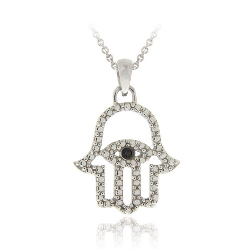 Sterling Silver Black Diamond Accent Hamsa-Evil Eye Pendant