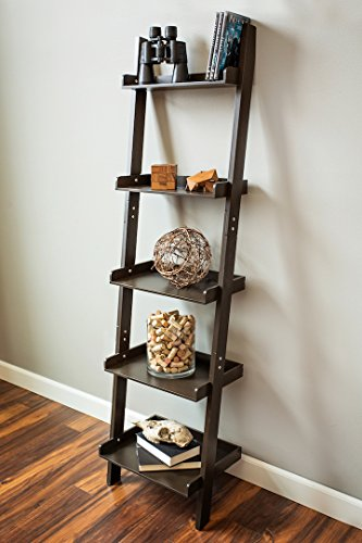 Inskeppa Expresso-Brown Unique 5-Tier Leaning Ladder Bookcase 65 Inch Tall, 5-Shelf Bookshelf (Expresso Wood Bookshelves compare prices)