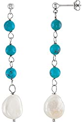 Sterling Silver Freshwater Cultured Pearl & Turquoise Earrings