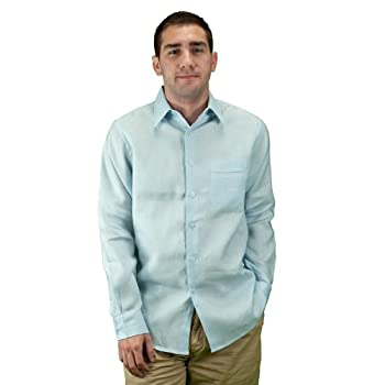 Men long sleeve linen shirt lt. Blue.