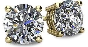 0.60tcw 14 Karat Yellow Gold Screwback Round Brilliant Cut Diamond Earrings