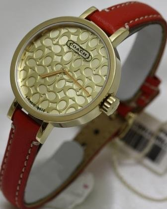 Coach Miranda Gold Tone with Signature Dial and Pink Strap Women's Watch