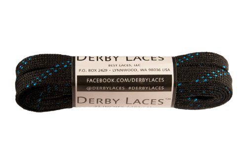 Black 72 Inch Waxed Skate Lace - Derby Laces for Roller Derby, Hockey and Ice Skates, and Boots