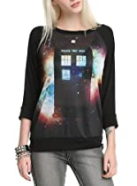 Doctor Who Space TARDIS Raglan Girls Pullover Size : Medium