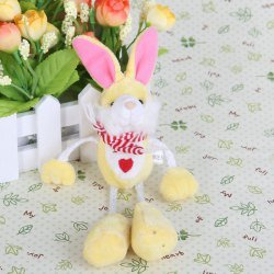 Small Yellow Cute Stuffed Toy Plush Rabbit with Four Hanging Limbs with Suction Cup