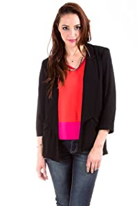 Love Riche Sheer Padded Blazer Wrap in Black