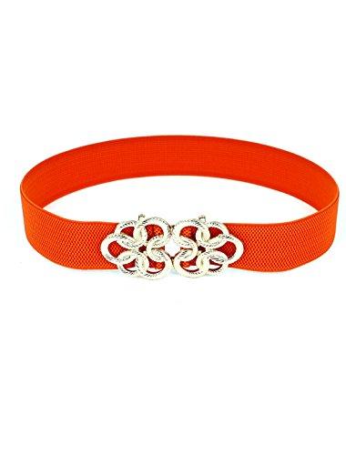 Twisted Circle Flower Buckle Stretch High Waist Belt Orange for Ladies Woman (Orange Belt compare prices)