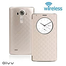 QIVV LG G4 Quick Circle Case Wireless Charger Qi Wireless Charging Receiver Cover Case with Wireless Charging | Smart View & NFC | Smart Wake Up | Sleep View Window Protective Phone Case(Gold)
