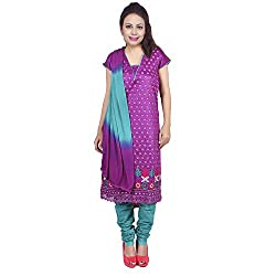 Raahi Purple Cotton Embroidered Unstitched Dress Material