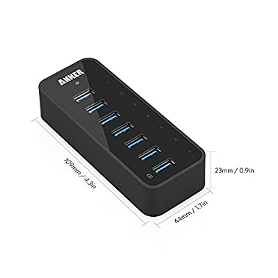 Anker USB 3.0 7-Port Hub with 1 BC 1.2 Charging Port up to 5V 1.5A, 12V 3A Power Adapter Included [VIA VL812-B2 Chipset] Black