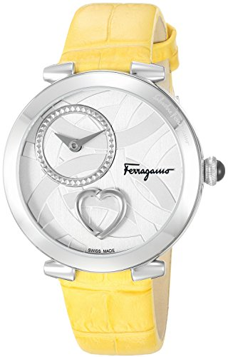 Salvatore-Ferragamo-Womens-Beating-Heart-Swiss-Quartz-Stainless-Steel-and-Leather-Casual-Watch-ColorYellow-Model-FE2010016