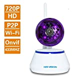 HIS VISION ProHD 1280x720P 1.0MP Wireless Camera,WIFI Baby Monitor Home Security Pet Camera,P2P Pan Tilt IP Camera,33ft IR Night Vision/Motion Detection/Memory Card Slot/Two Way Audio Talk/Remote View