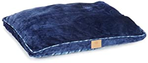 American Kennel Club Plush Fur Gusset Pet Bed with Plaid Bottom, Blue
