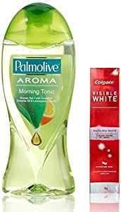 Palmolive Aroma Therapy Morning Tonic Shower Gel, 250ml with Free Colgate Visible White, 50g