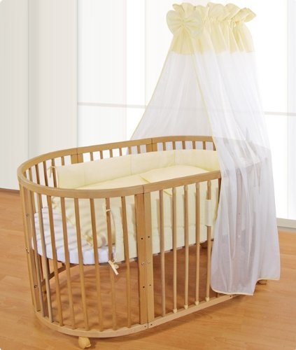 comfortbaby baby children bed u2013 oval u2013 solid wood u2013 3 in 1 all inclusive u2013 used as a crib playpen bed including mini sky covers blankets mattresses