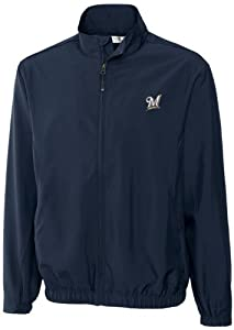 MLB Milwaukee Brewers Mens Windtec Astute Full Zip Windshirt by Cutter & Buck
