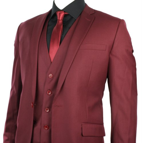 Mens Slim Fit Suit Maroon Wine Burgundy 3 Piece Work Occasional or Wedding Party Suit