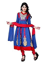 Diva Fusion Women Cotton Dress Material (Dfa124 _Blue And Red)