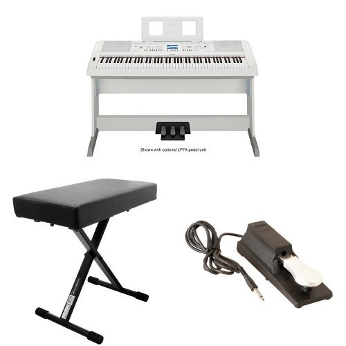 Best Price Yamaha DGX650WH Digital Piano with OnStage Keyboard Bench and Pedal