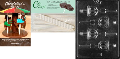 Cybrtrayd 'Pacifier Pop' Adult Chocolate Candy Mold With 50 4.5-Inch Lollipop Sticks And Chocolatier'S Guide front-1056389