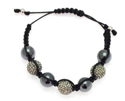 Black Cotton Bangle Type Adjustable Bracelet with Haematite and Black Diamond Crystal