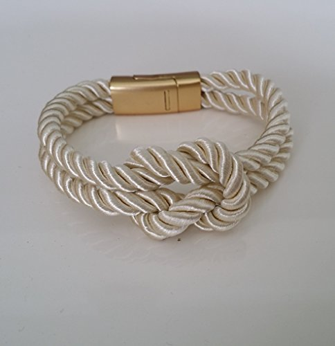 Rope Knot Bracelets with Magnetic Clasp-5 Colors-unisex (Beige)