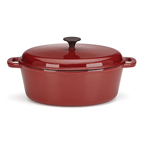 The Mexican Kitchen by Rick Bayless 6 Quart Oval Dutch Oven with Lid, Medium, Red (Medium Dutch Oven compare prices)