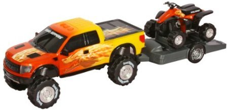 Toy State Road Rippers Light and Sound Trucks and Trailers: Ford F-150 Raptor SVT with ATV - Styles and Colors may Vary (Truck Trailer For Atv compare prices)