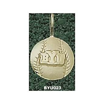 Brigham Young (BYU) Cougars BYU Baseball Pendant - 14KT Gold Jewelry by Logo Art
