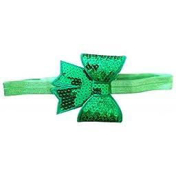 Needybee Baby Girls\' Headband With Sequined Bow Onesize Green