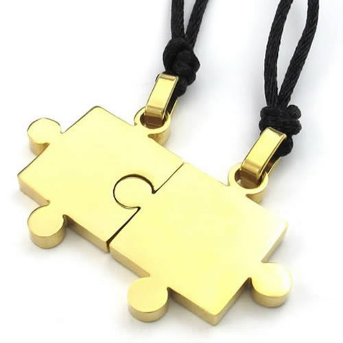 Konov Jewelry 2Pcs Mens & Womens Couples Stainless Steel Puzzle Pendant Love Necklace Set, Gold