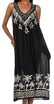 Sakkas 600A Embroidered Palm Tree V-Neck Caftan Cotton Dress - Black / One Size