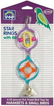 Cheap 2PK Star Ring With Ball Bell (Catalog Category: Bird / Bird Toys-plastic Acrylic) (BVT7741)