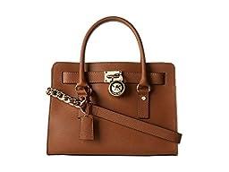 Michael Kors Hamilton E/W Saffiano Satchel Handbag (One Size, Luggage)