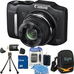Canon PowerShot SX160 IS 16.0 MP Digital Camera with 16x Wide-Angle Optical Image Stabilized Zoom with 3.0-Inch LCD (Black) Premiere Bundle With 16 GB Secure Digital High Capacity (SDHC) Memory Card, Digpro Compact Camera Deluxe Carrying Case