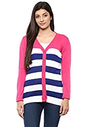 Ajile by Pantaloons Women's V-Neck Sweater (205000005647141, Pink, Large)