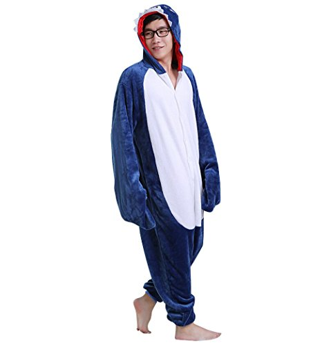 Adult Halloween Cosplay shark Animal Pajamas Animal Onesie sleepwear (XL (70.5