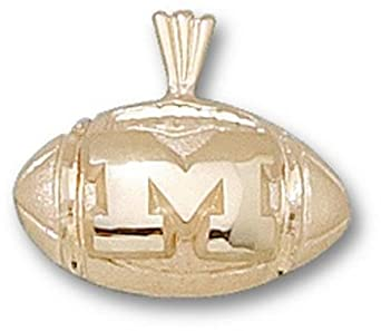 Michigan Wolverines M Football Pendant - 14KT Gold Jewelry by Logo Art