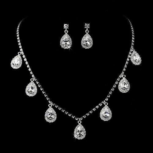 Bridal Wedding Jewelry Set Austrian Crystal Rhinestone Lovely Teardrop Silver