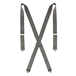 Big and Tall Dress Gray Suspenders for Men - 54 inches Long - 1.5 inches Wide
