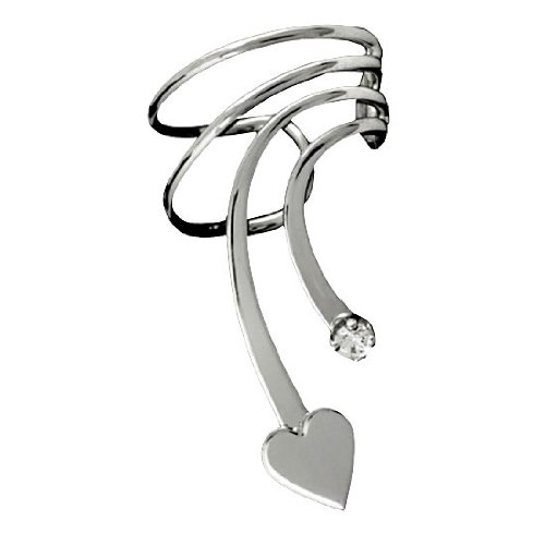 Sterling Silver Pierceless Right Only Short Wave Heart And Cubic Zirconia Ear Cuff