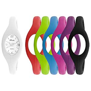 "Breda Women's 2304_6CB ""Lark"" 6 Changeable Jelly Sporty Silicone Expansion Bands and Watch"
