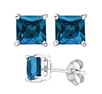 2.00 Carat Total Weight 925 Sterling Silver Earrings. 1.00 Carat Each Stone. Created CZ Topaz by U.S.A