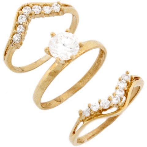14ct Yellow Gold White CZ Solitaire Triplet Wedding Womens Ring Trio
