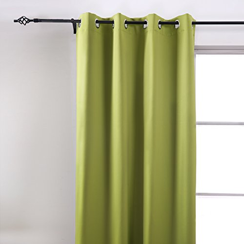 Deconovo Room Darkening Insulated Thermal Blackout Grommet Window Curtain Panel For Living Room Green,52x63-Inch,1 Panel
