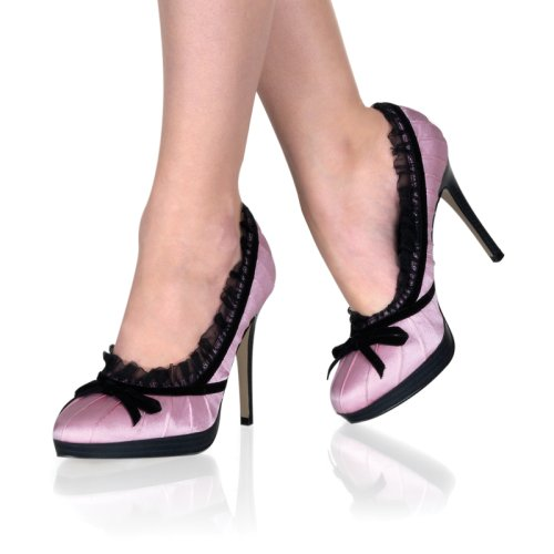 BLISS-38, 4 1/4 Stiletto Heel Mini-Platform Satin Pump with Bow in Black, Pink or Red Satin in Sizes 5-11
